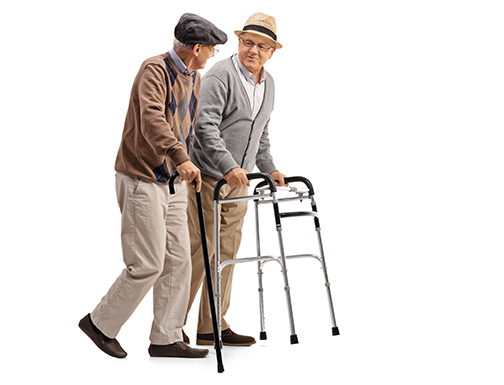 peripheral neuropathy | mature man with walker and another man with cane
