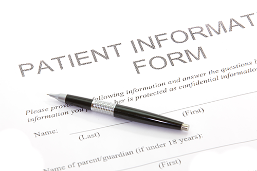 new patients | photo of a patient information form