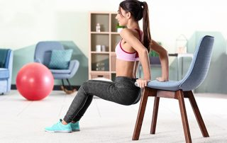 photo of beautiful young woman doing a chair squat | improving balance