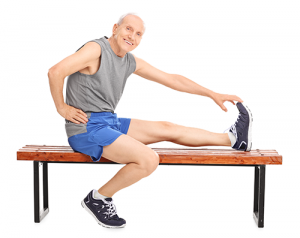 leg health | photo of senior man stretching his leg